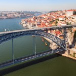 Aerial view from helicopter of old town of Porto and Dom Luis I Bridge, Portugal