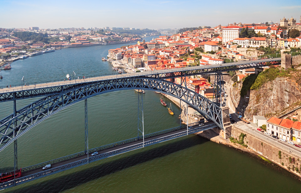 Porto and Dom Luis I Bridge aerial view
